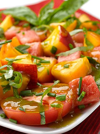 Watermelon Peach & Tomato Salad - Deliciously Different