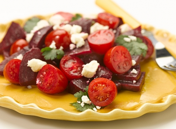 Tomato & Beet Salad with Feta - Deliciously Different